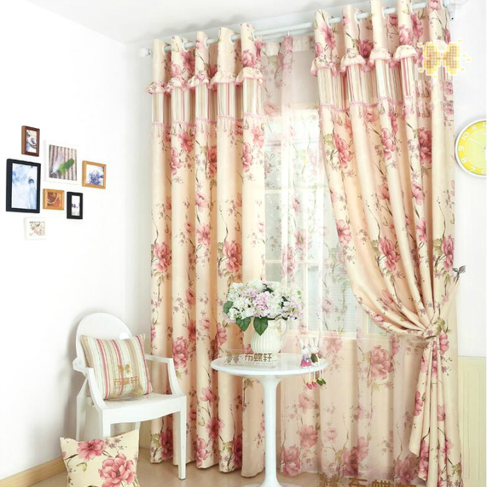 Exquisite Pink Floral Korean Polyester Country Curtain, curtainsmarket