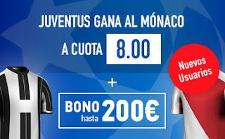 Supercuota Sportium para nuevos usuarios Juventus vs Mónaco + Bono 200€