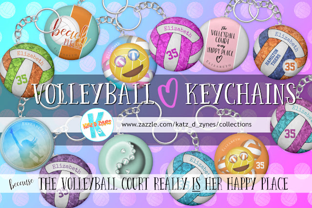 Personalized volleyball keychains from katzdzynes, because the volleyball court really IS her happy place