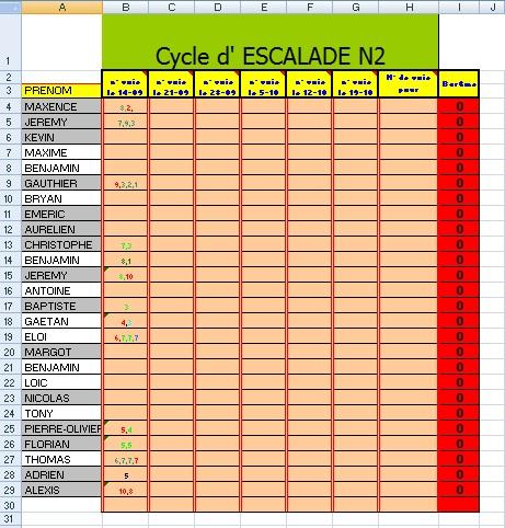 EXCEL ET L'EPS: CP2: Fiche Évaluation Escalade, collège ...