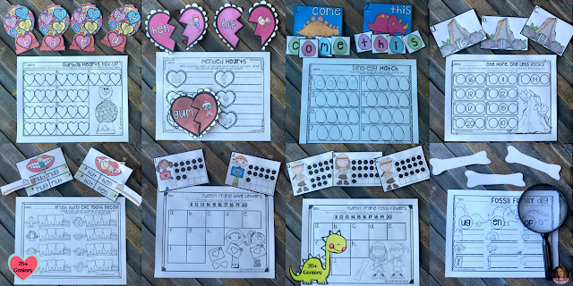 Valentine and February Math and Literacy Centers for Preschool