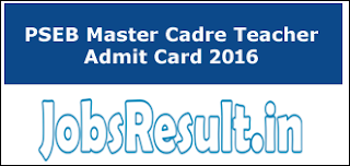 PSEB Master Cadre Teacher Admit Card 2016