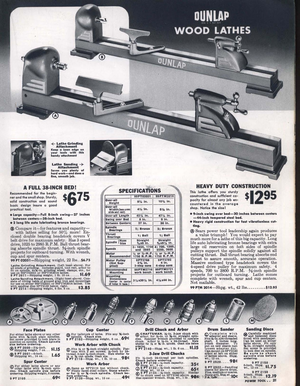 ... better image of the page from the 1942 catalog that Brad posted. It  clearly shows that the additional tail center options are attached with set  screws.