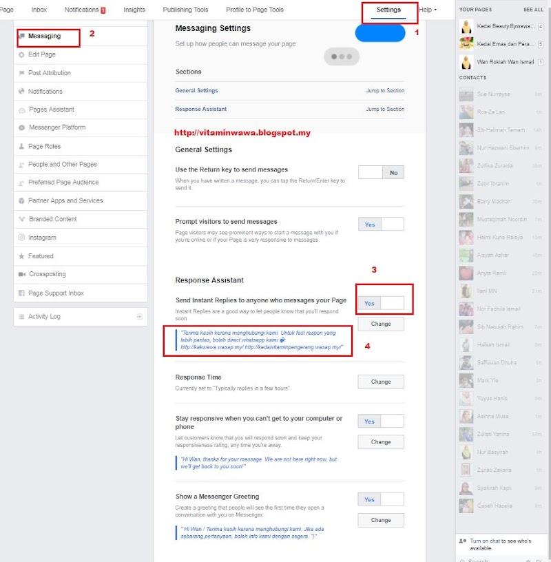 Tutorial Auto Reply PM Customer di FB Page