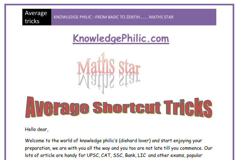 Download Average Tips and Tricks in PDF - Knowledge Philic