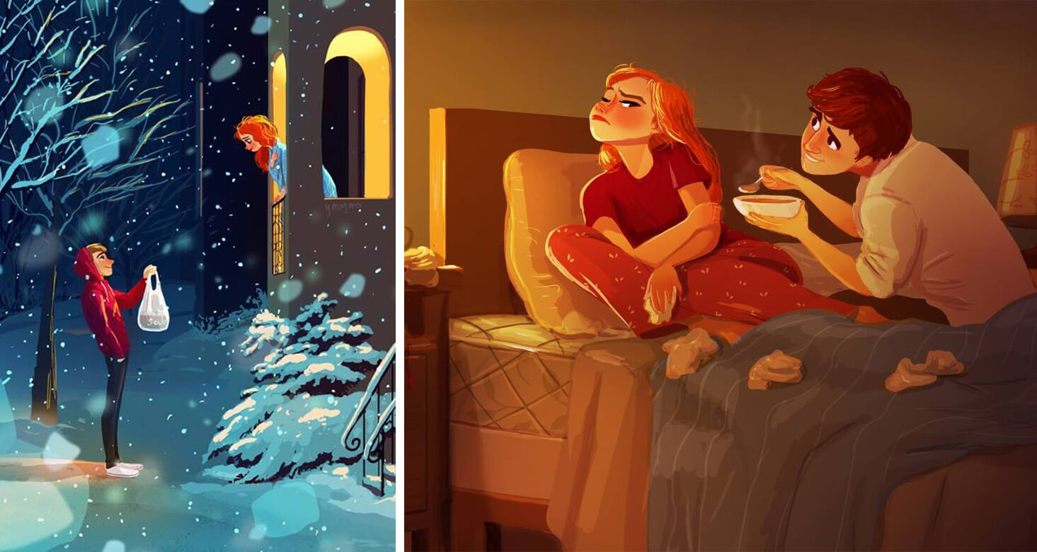 39 Loving Illustrations Depict The Happiness Of The Everyday Life Of An Artist