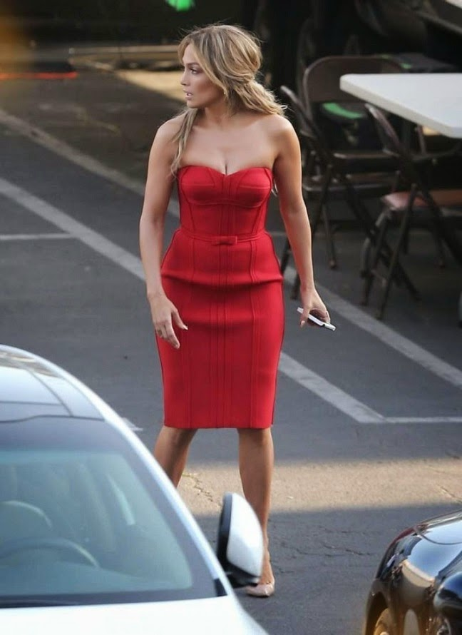 Jennifer Lopez spotted in a red Lanvin dress on the American Idol set in Hollywood