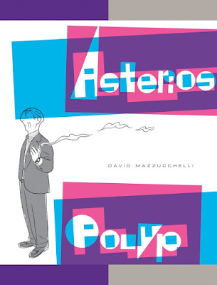 cover of David Mazzucchelli's 'Asterios Polyp' with a severe-looking man in a suit holding a cigarette