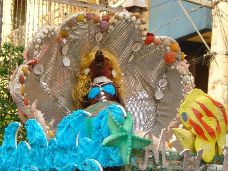 Lechon dressed as the Little Mermaid during the La Loma Lechon Festival