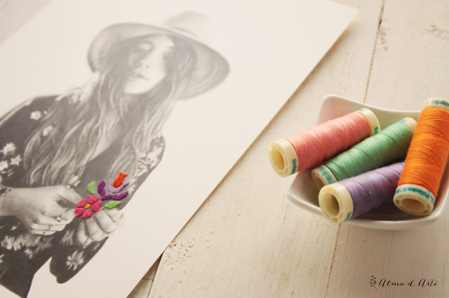 Ilustración y bordado en papel