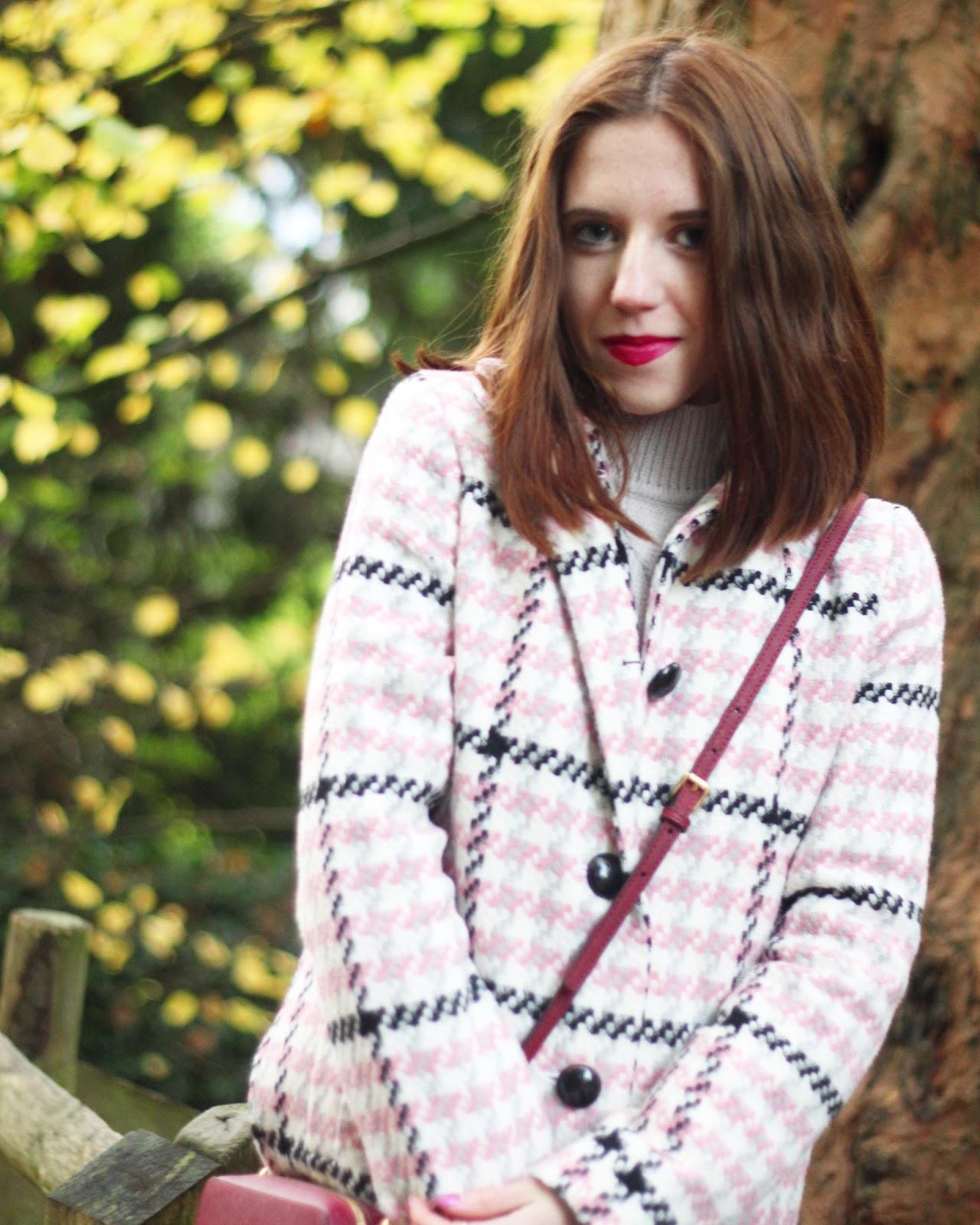 miss selfridge pink check petite winter coats