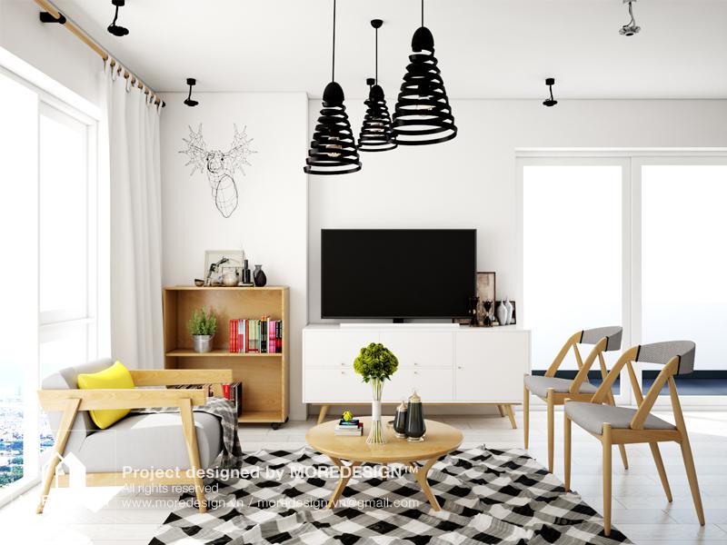 Thiết kế nội thất chung cư phòng khách Golden Palace