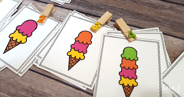 Free ice cream themed number match is the perfect counting practice for numbers 1-10. Ideal for preschool and kindergarten!