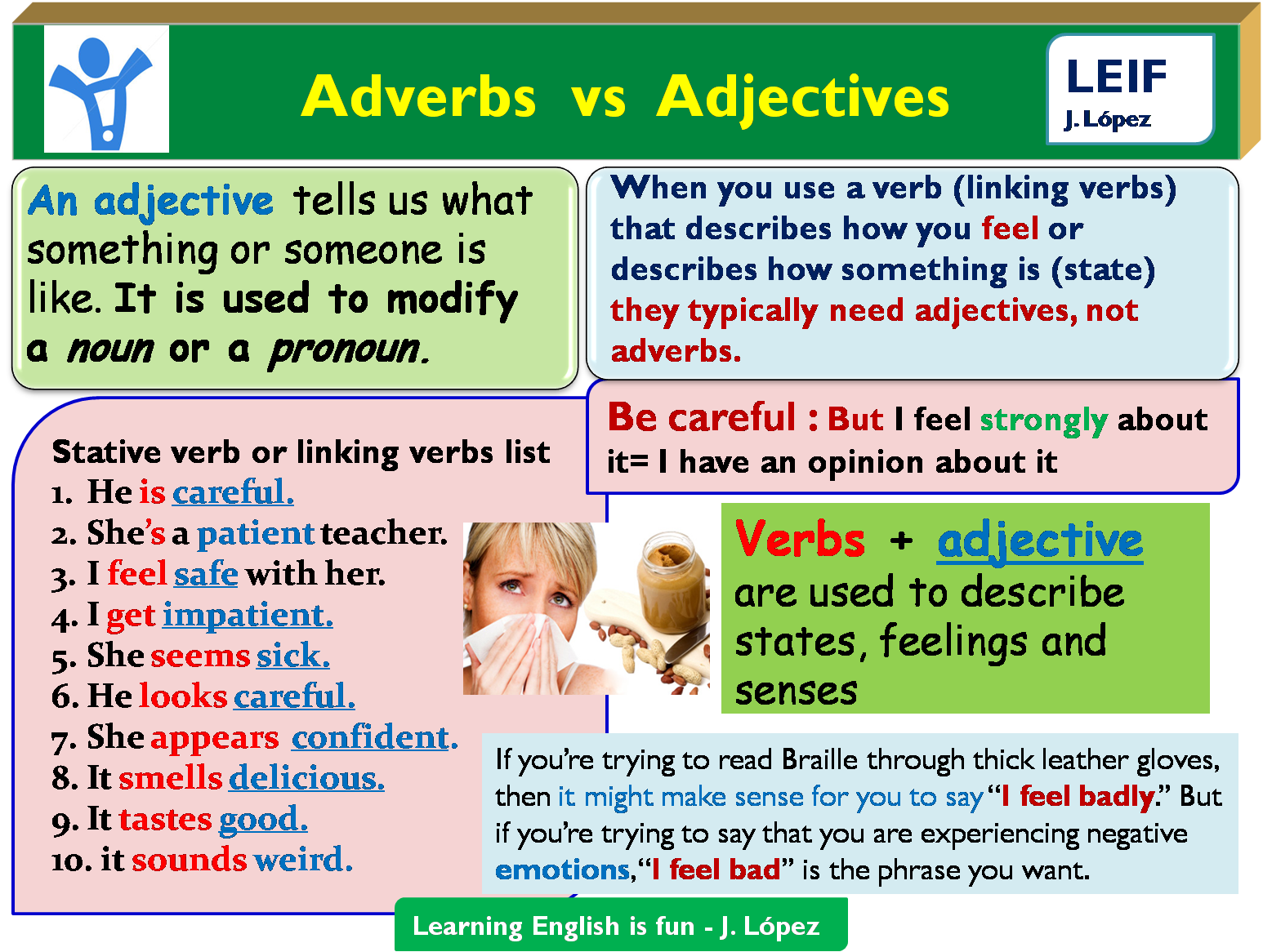 adjective adverb studying Adjectives and adverbs download this explanation in pdf here adverbs are used to describe verbs, adjectives or other adverbs they are often (but not always) made by adding 'ly' to the.