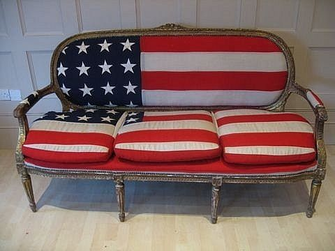 flag settee, flag couch, 4th of july couch, reupholster furniture using the flag