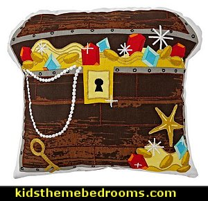 treasure chest throw pillow  pirate bedrooms - pirate themed furniture - nautical theme decorating ideas - pirate theme bedroom decor - Peter Pan - Jake and the Never Land Pirates - pirate ship beds - boat beds - pirate bedroom decorating ideas - pirate costumes