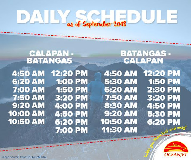 Batangas to calapan ferry schedule via Oceanjet