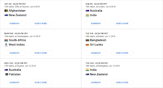 ICC Cricket World Cup 2019 - Fixtures & Results