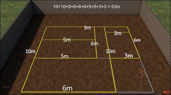 medida linear das paredes