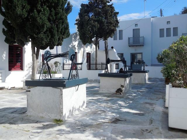 Pod cedrami trzy białe studnie obok których siedzi grecki łaciaty kot Mykonos, Grecja