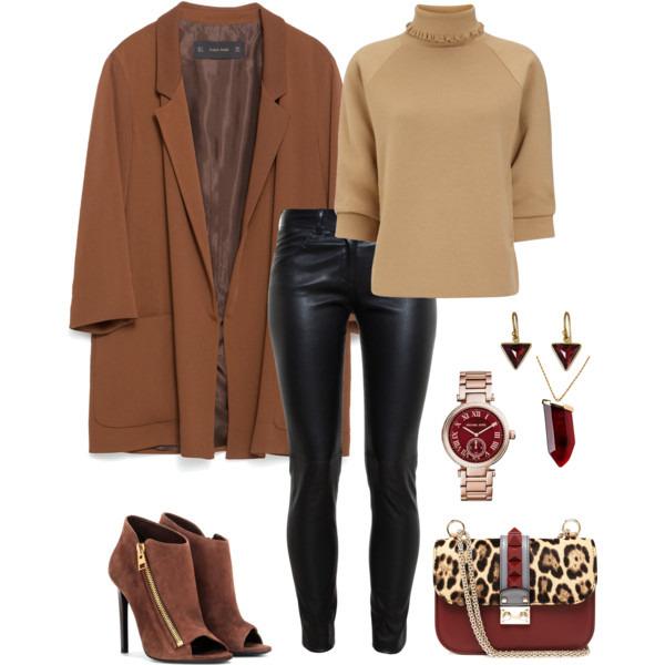 с чем носить коричневое пальто оверсайз