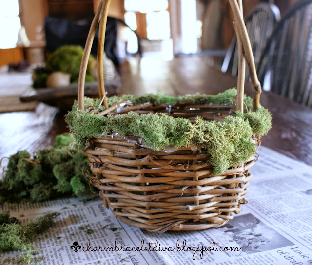 twig basket glue moss newspaper