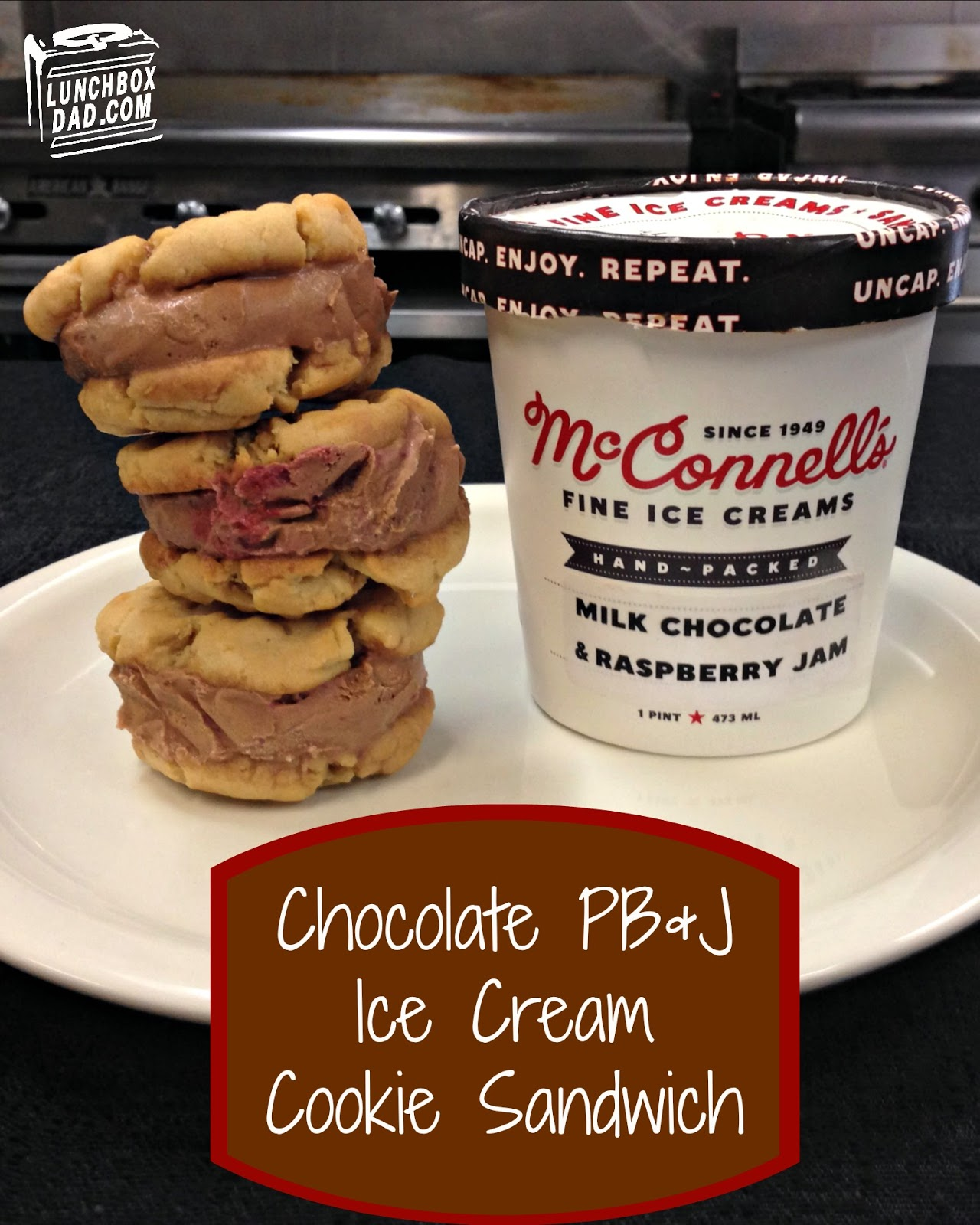 McConnell's Chocolate PB&J Ice Cream Cookie Sandwich