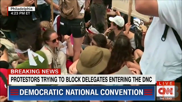 Video Screen Capture:  CNN Frantically Cuts Away From DNC Protests To Cover Boyz II Men