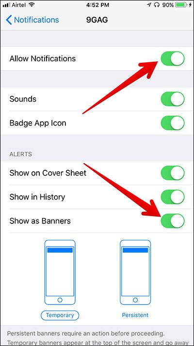 iOS 11 banner notification problem