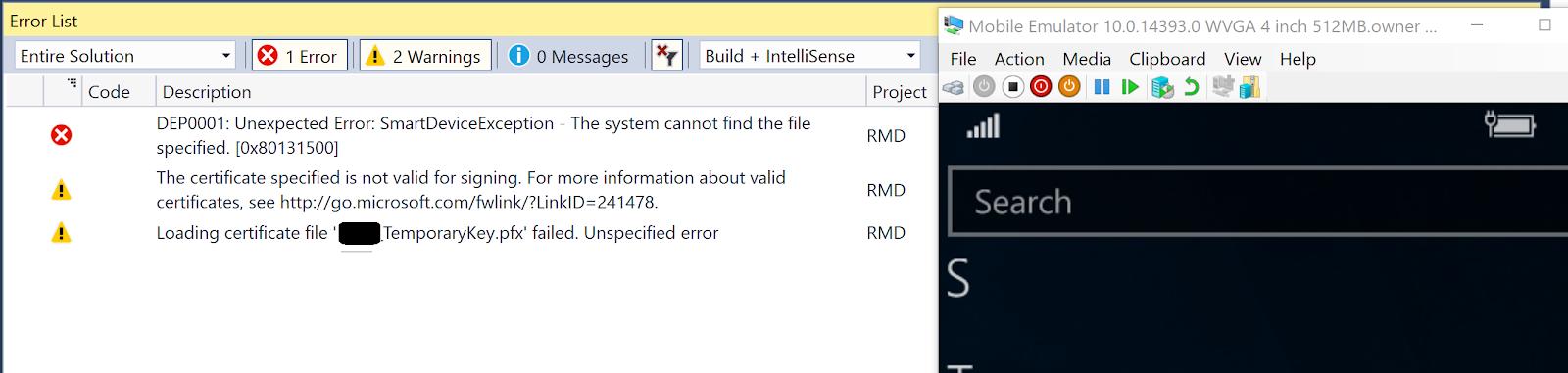 UWP : Visual Studio 2017 Community error 'App Didn't Start'