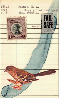 sparrow bird postage stamp book cover library card Dada Fluxus mail art collage