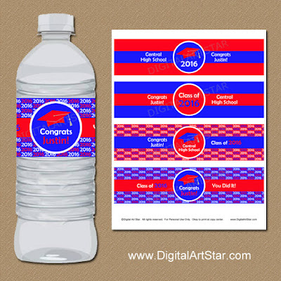 2016 red and royal blue graduation party water labels - personalization included