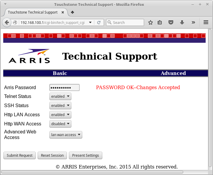 W00tsec Arris Cable Modem Has A Backdoor In The Backdoor