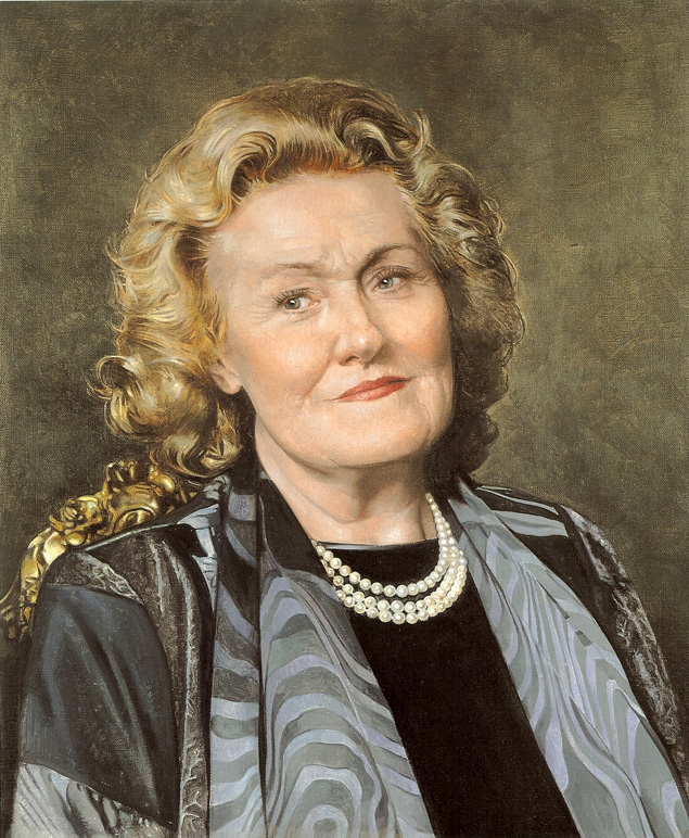 Soprano DAME JOAN SUTHERLAND in a 2001 portrait by Richard Stone [Image © by the artist; used with permission]