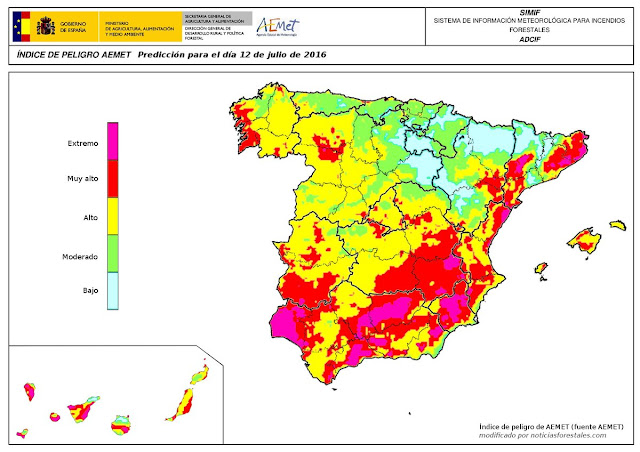 peligro extremo de incendio forestal para hoy martes 12 de julio  en Canarias