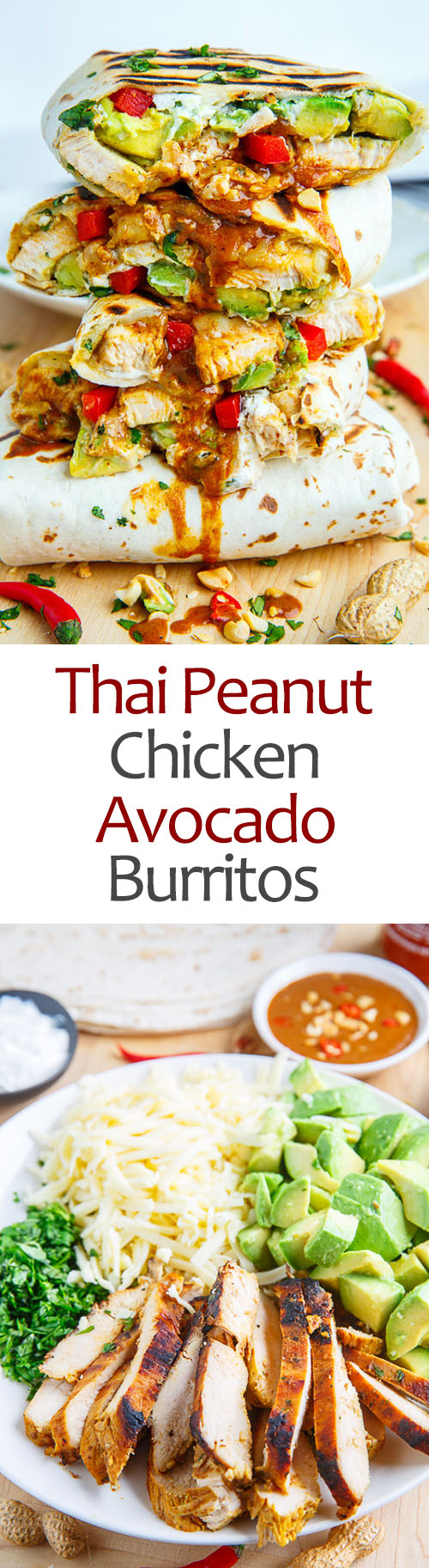 Thai Peanut Chicken Avocado Burritos