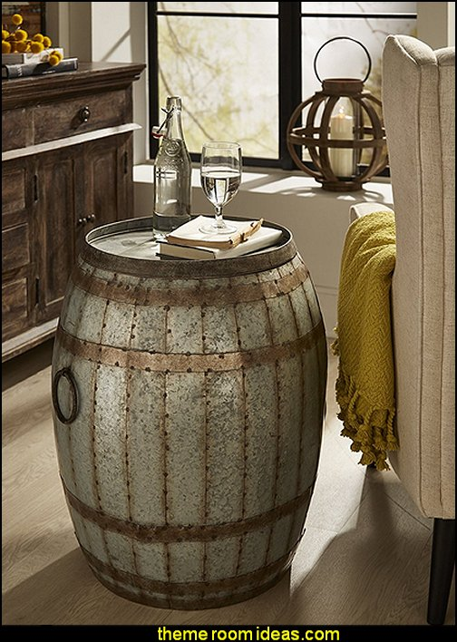 Vineyard Wine Barrel Storage Table – Vintage Inspired Iron Barrel, Rustic Metal Accent Table, Home Bar Furniture. Bar Cabinets