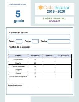 Examen Trimestral  Quinto grado Bloque III  2019-2020