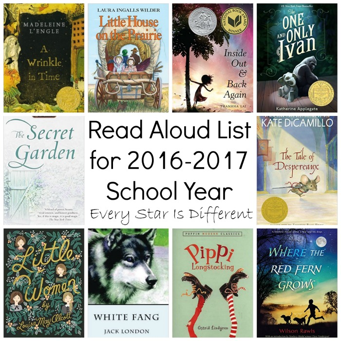 Read Aloud List for School Year