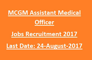 MCGM Assistant Medical Officer Jobs Recruitment 2017