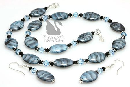 Czech Aqua Blue Black Swirl Crystal Necklace Set (N111-E275) | Crystal Allure Beaded Jewelry Creations