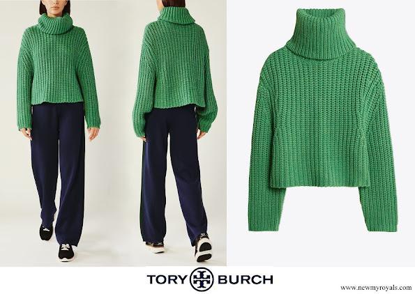 Princess Sofia Tory Burch merino cropped turtleneck sweater
