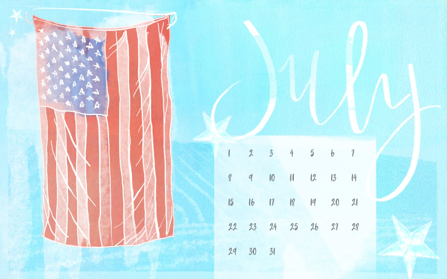 desktop calendar for july