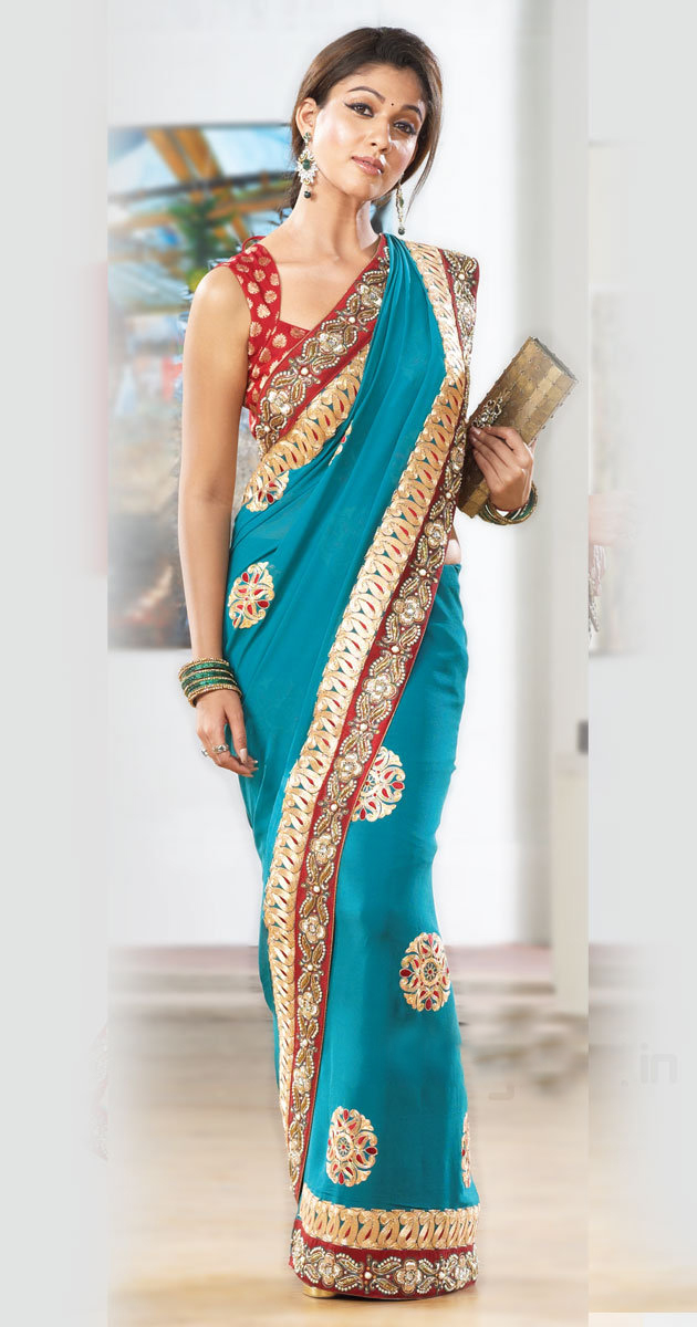 Actress Nayantara Blue Saree