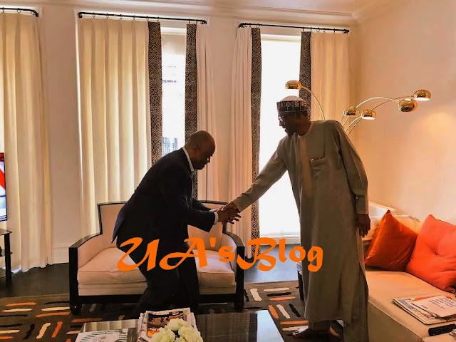 JUST IN: Akpabio meets Buhari in London