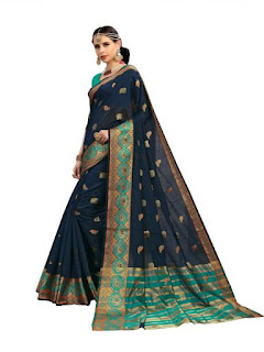 this image relates Aashvi Creation Self Design, Printed Kanjivaram Cotton Silk, Banarasi Silk, Art Silk, Jacquard Saree  (Dark Blue)