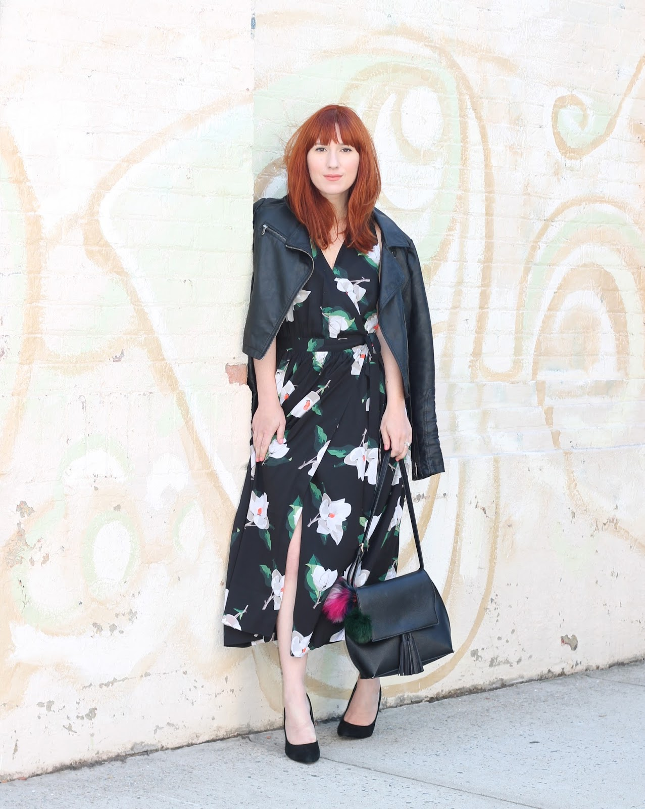 outfits ideas, wrap dress, florals, banana republic, leather jacket, layering, girly outfits, easy outfit ideas