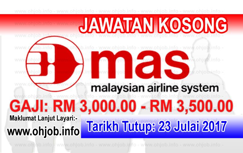 Jawatan Kerja Kosong Malaysian Airline System Berhad logo www.ohjob.info julai 2017