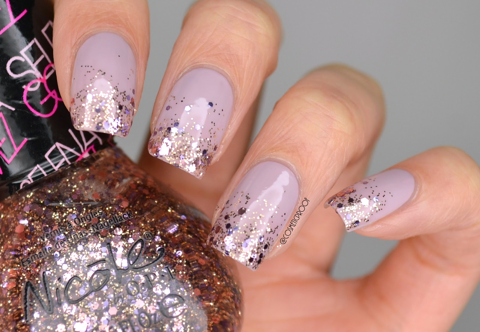Nails Purple Glitter Gradient With Nicole By Opi Cosmetic Proof