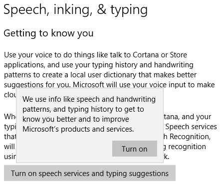 Speech, inking & typing